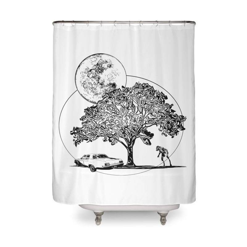 Full Moon on Lover's Lane - Classic Monster Version Home Shower Curtain by Jason Henricks' Artist Shop