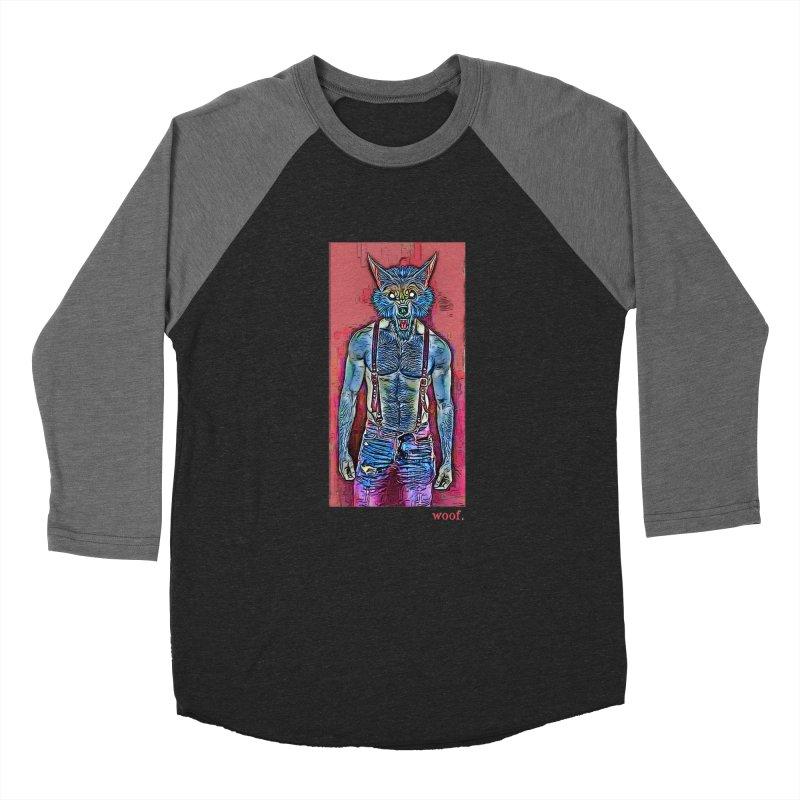 woof. Men's Baseball Triblend T-Shirt by Jason Henricks' Artist Shop