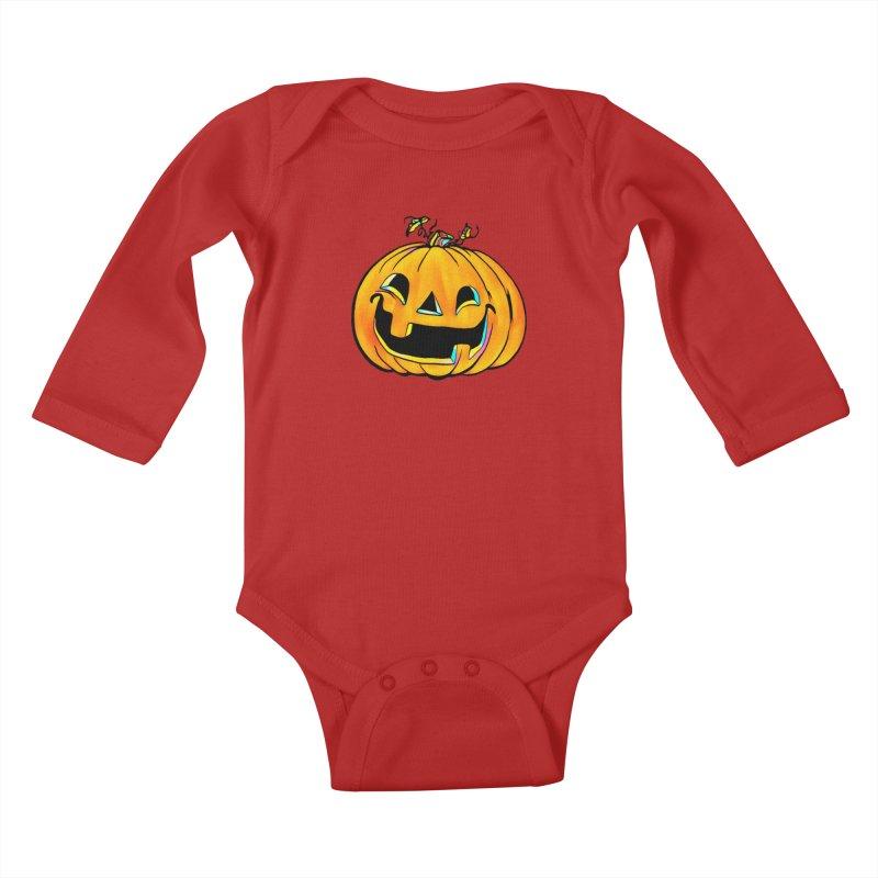 Party Pumpkin  Kids Baby Longsleeve Bodysuit by Jason Henricks' Artist Shop