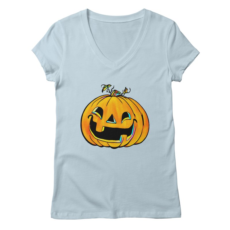 Party Pumpkin  Women's V-Neck by Jason Henricks' Artist Shop
