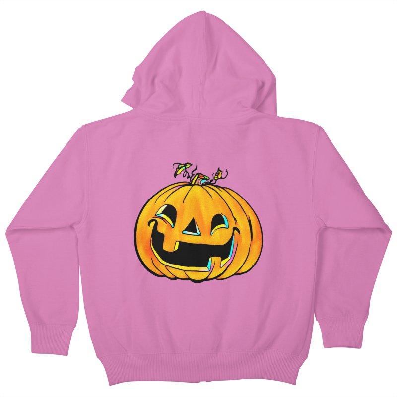 Party Pumpkin  Kids Zip-Up Hoody by Jason Henricks' Artist Shop