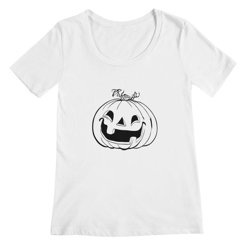 Party Pumpkin (Version 2) Women's Scoopneck by Jason Henricks' Artist Shop