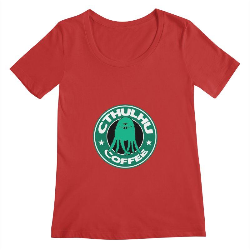 Cthulhu Coffee Women's Scoopneck by JiggyTheGeek's Artist Shop