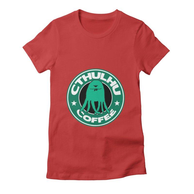 Cthulhu Coffee Women's Fitted T-Shirt by JiggyTheGeek's Artist Shop