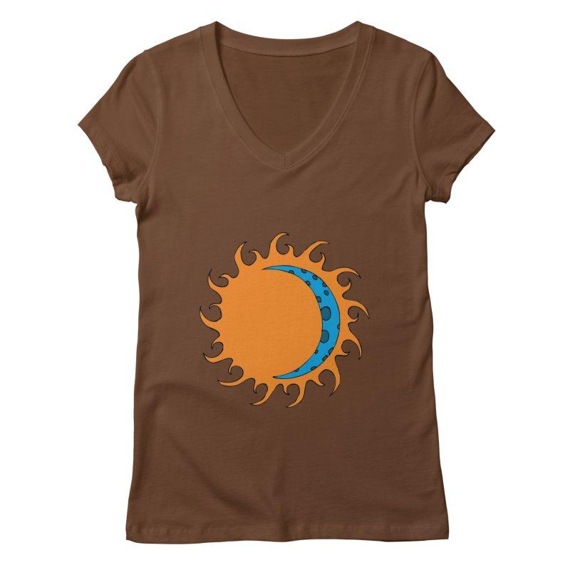 Sun & Moon Women's V-Neck by JiggyTheGeek's Artist Shop
