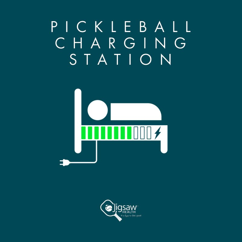 Pickleball Charging Station Women's T-Shirt by Jigsaw Swag designed by Jigsaw Health