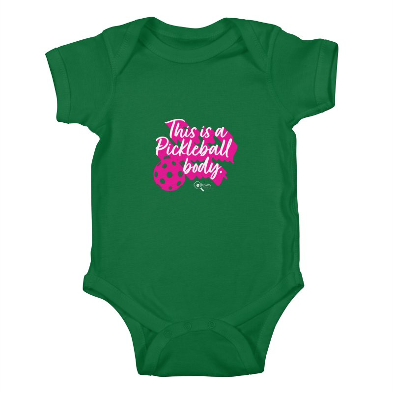 This is a Pickleball body Kids Baby Bodysuit by Jigsaw Swag designed by Jigsaw Health