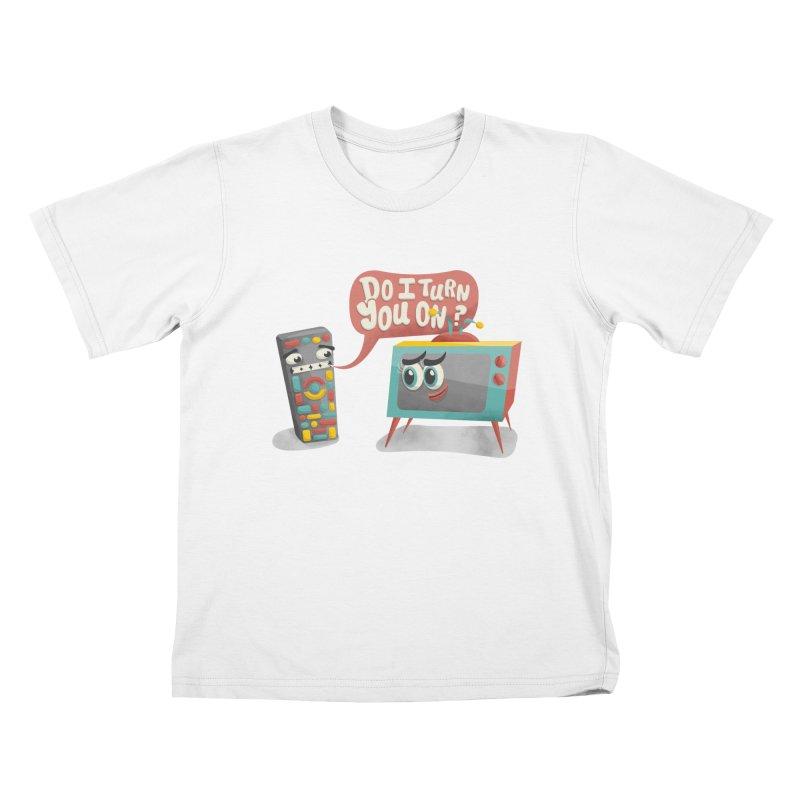 Do I Turn You On? Kids T-shirt by JILL MARS