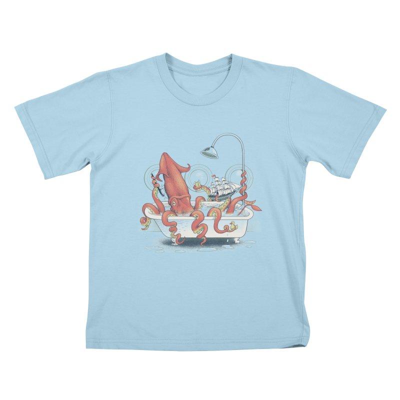 Kraken Bath Time Kids T-Shirt by jillustration's Artist Shop