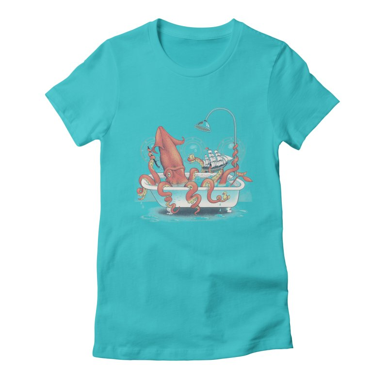 Kraken Bath Time Women's Fitted T-Shirt by jillustration's Artist Shop