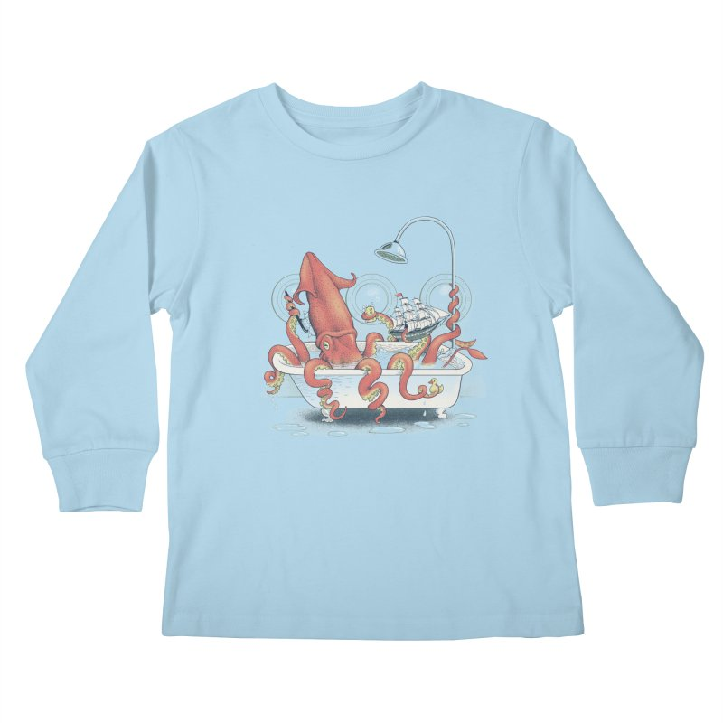 Kraken Bath Time Kids Longsleeve T-Shirt by jillustration's Artist Shop