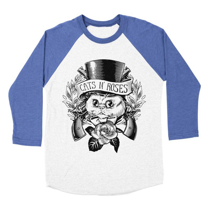 Cats N' Roses Men's Baseball Triblend T-Shirt by jimiyo's Artist Shop