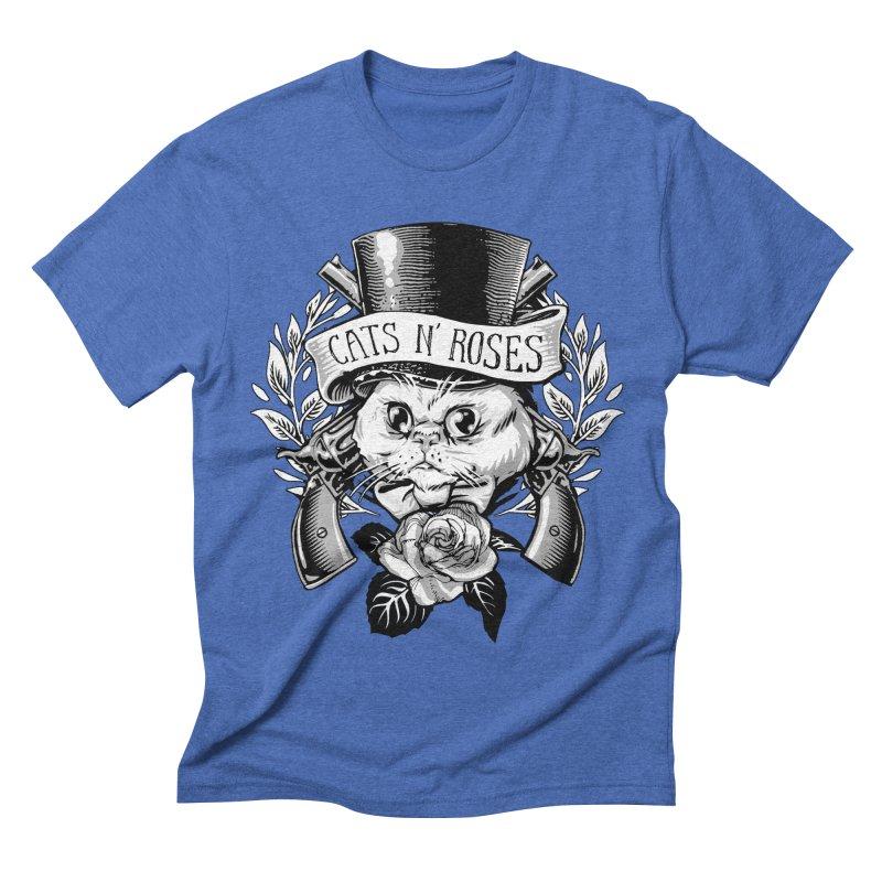 Cats N' Roses Men's Triblend T-shirt by jimiyo's Artist Shop