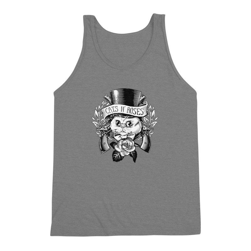 Cats N' Roses Men's Triblend Tank by jimiyo's Artist Shop