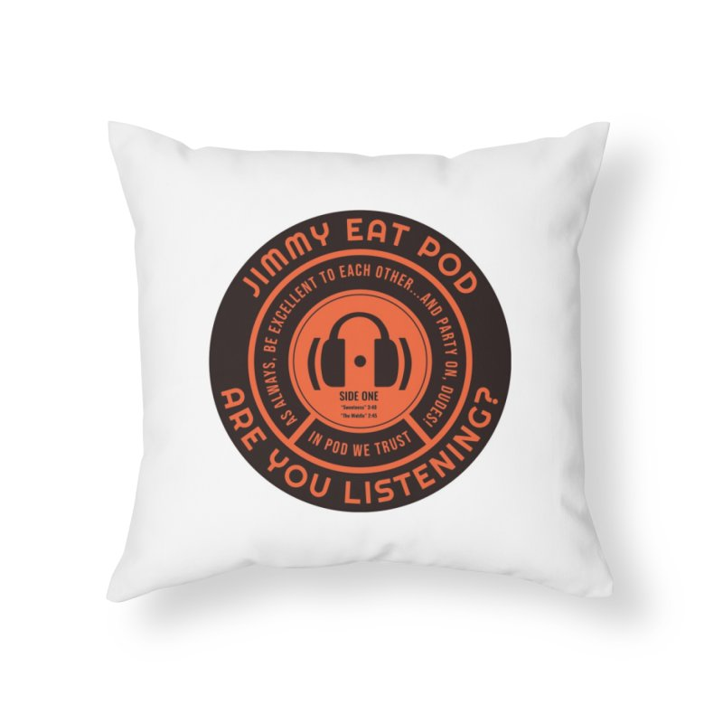 Vinyl Label Home Throw Pillow by Jimmy Eat Pod's Shop