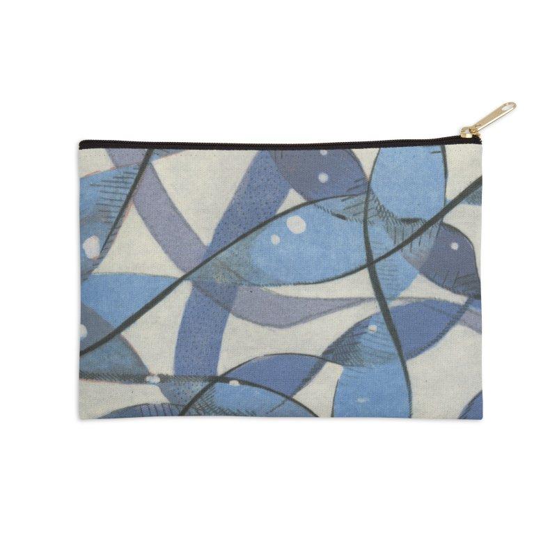 Blue Pattern Accessories Zip Pouch by jkempain's Artist Shop
