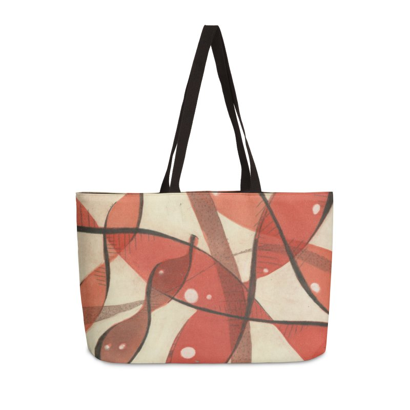 Red Accessories Weekender Bag Bag by jkempain's Artist Shop