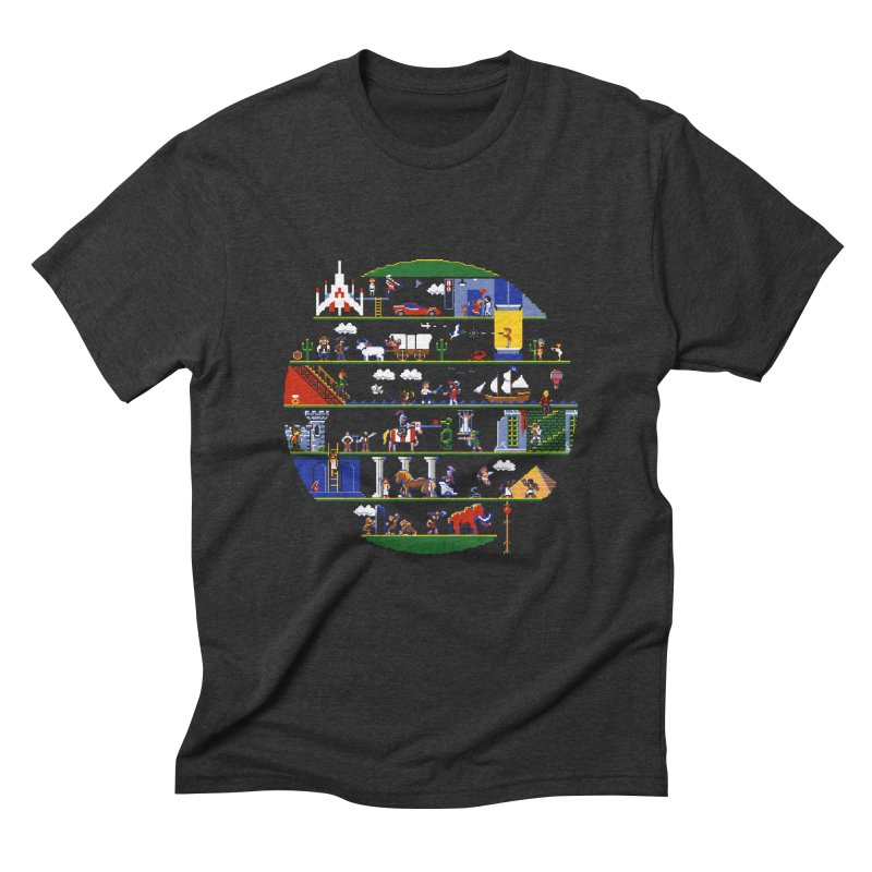 8-bit History of the World Men's Triblend T-Shirt by jmg's Artist Shop