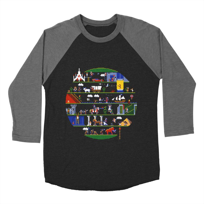 8-bit History of the World Men's Baseball Triblend T-Shirt by jmg's Artist Shop