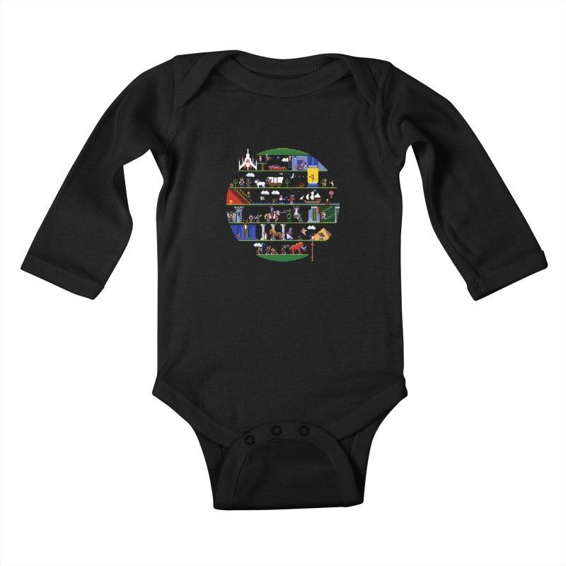 8-bit History of the World Kids Baby Longsleeve Bodysuit by jmg's Artist Shop