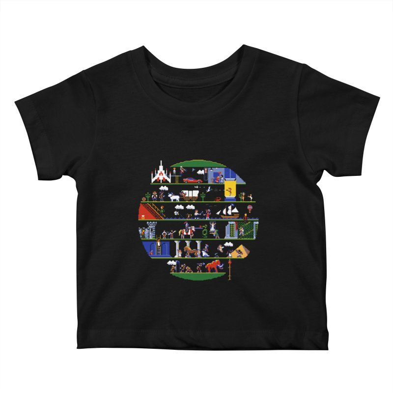 8-bit History of the World Kids Baby T-Shirt by jmg's Artist Shop