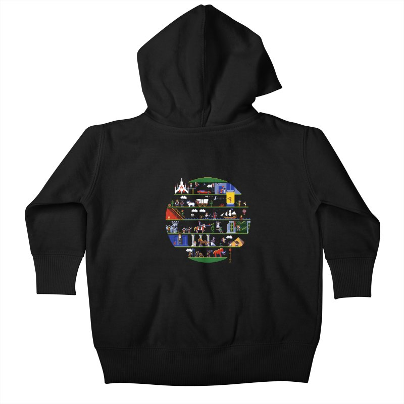 8-bit History of the World Kids Baby Zip-Up Hoody by jmg's Artist Shop