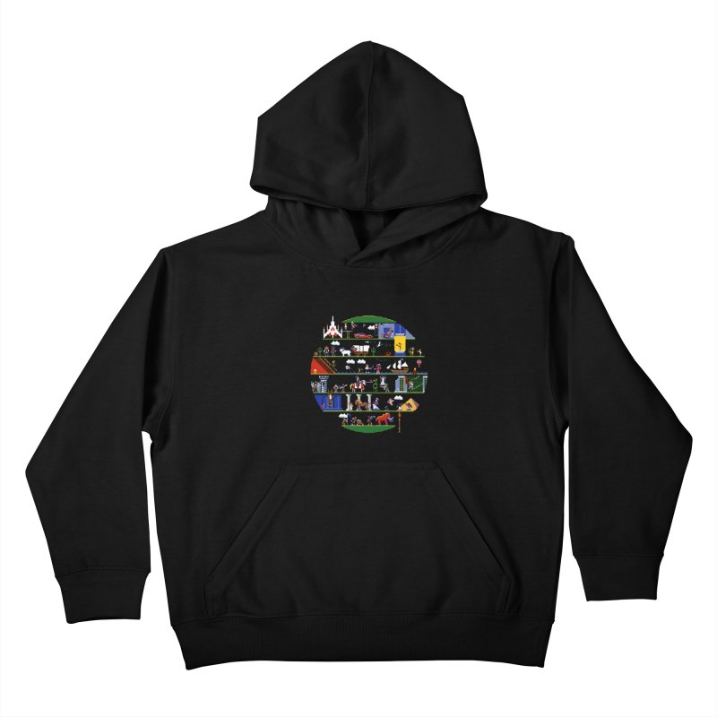 8-bit History of the World Kids Pullover Hoody by jmg's Artist Shop