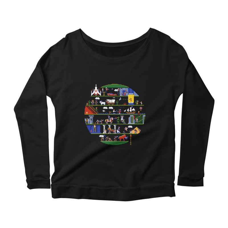 8-bit History of the World Women's Longsleeve Scoopneck  by jmg's Artist Shop
