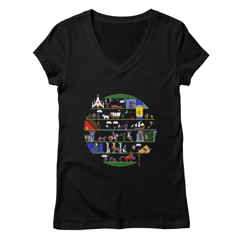 8-bit History of the World Women's V-Neck by jmg's Artist Shop