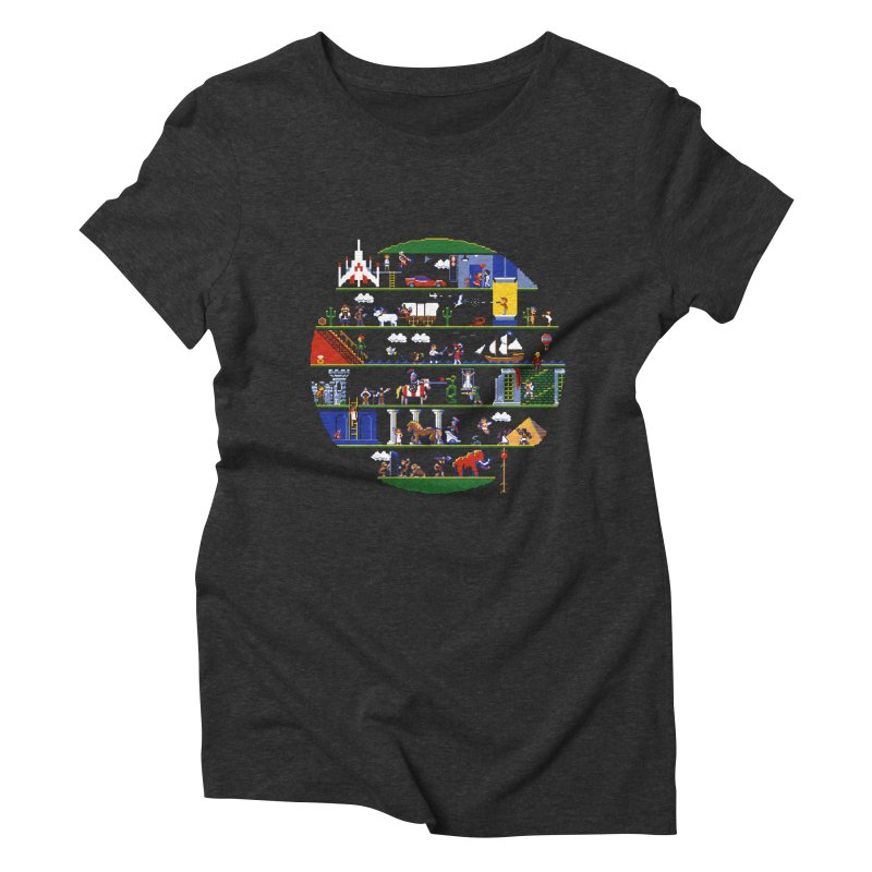 8-bit History of the World Women's Triblend T-Shirt by jmg's Artist Shop