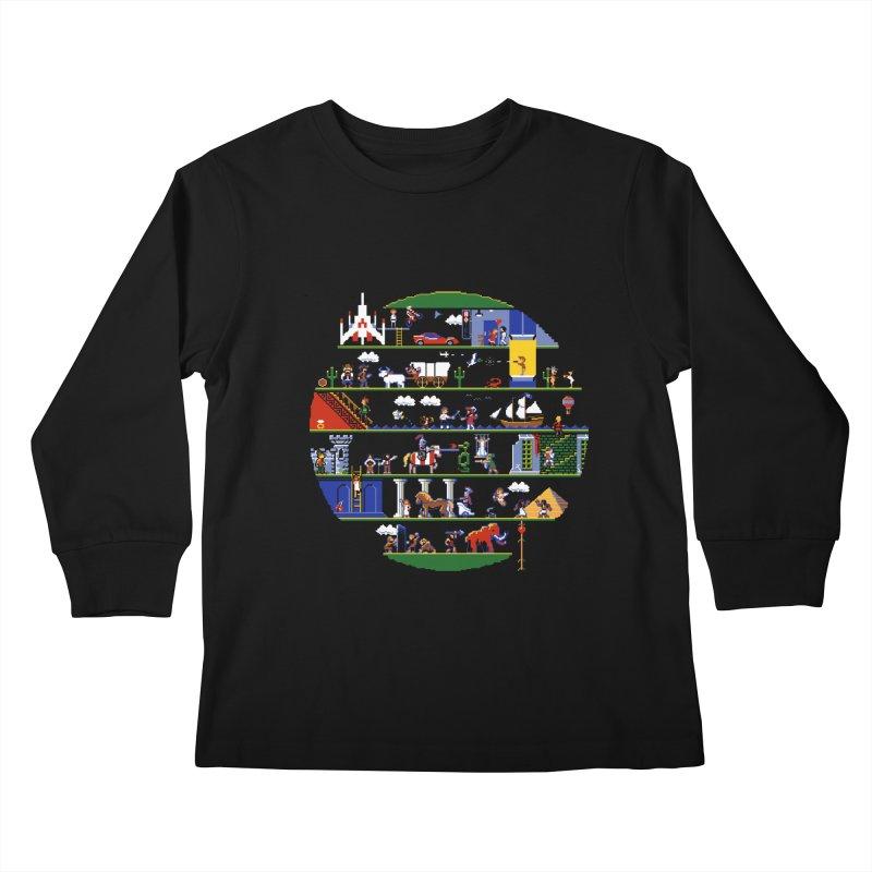 8-bit History of the World Kids Longsleeve T-Shirt by jmg's Artist Shop