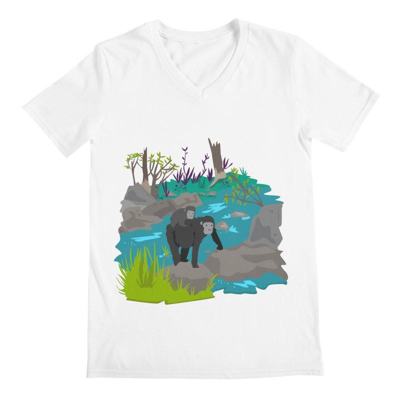 Gorillas Men's V-Neck by JMK's Artist Shop