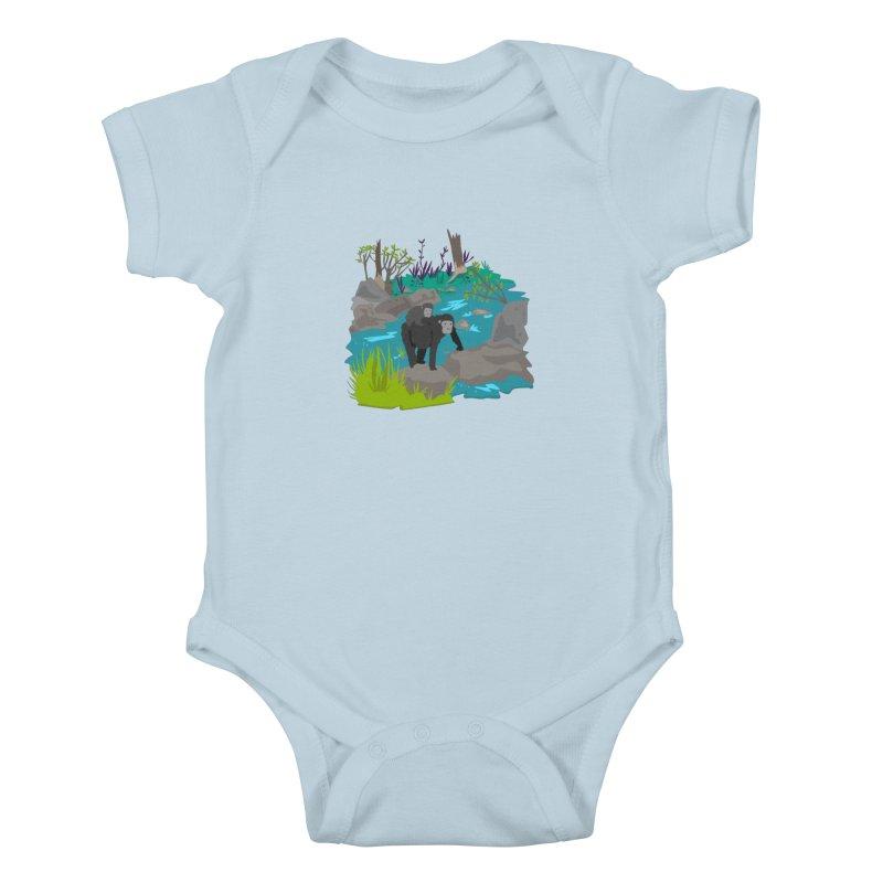 Gorillas Kids Baby Bodysuit by JMK's Artist Shop