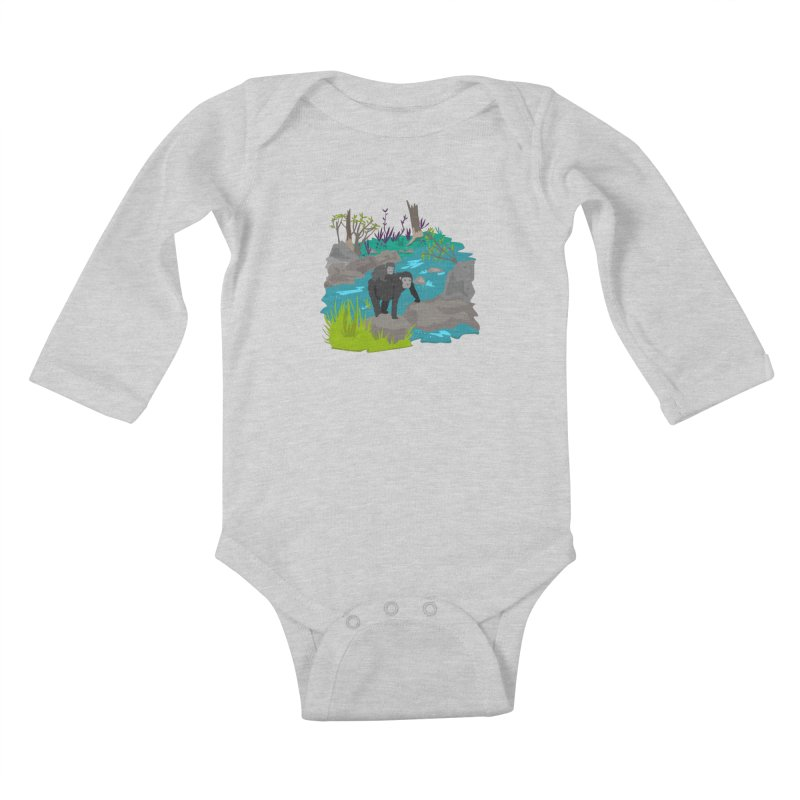 Gorillas Kids Baby Longsleeve Bodysuit by JMK's Artist Shop