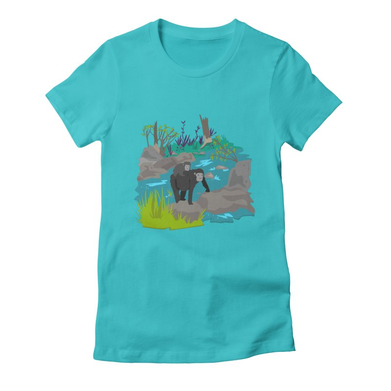 Gorillas Women's Fitted T-Shirt by JMK's Artist Shop