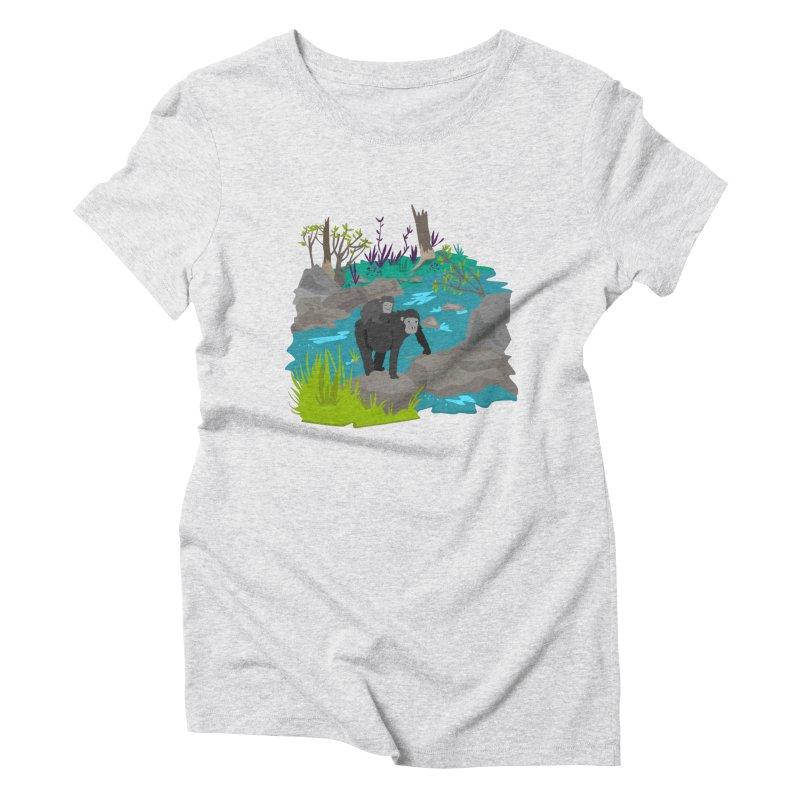 Gorillas Women's Triblend T-shirt by JMK's Artist Shop
