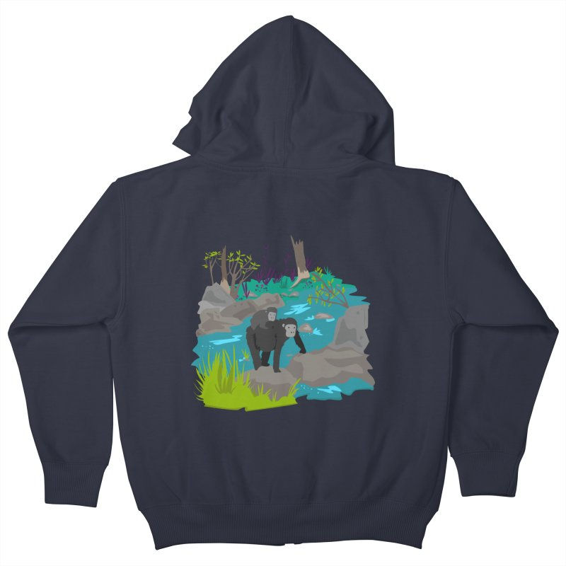 Gorillas Kids Zip-Up Hoody by JMK's Artist Shop