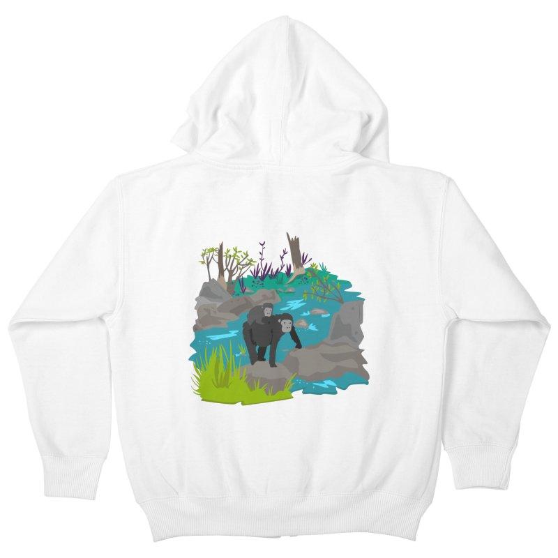 Gorillas Kids Zip-Up Hoody by JMK's Artist Shop