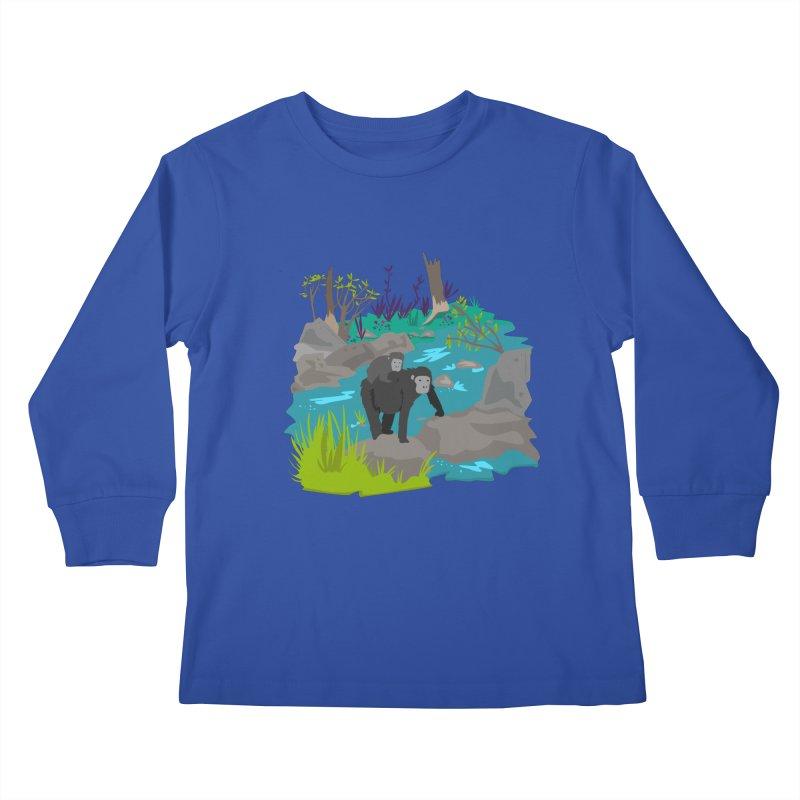 Gorillas Kids Longsleeve T-Shirt by JMK's Artist Shop