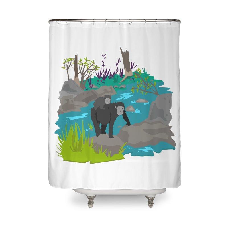 Gorillas Home Shower Curtain by JMK's Artist Shop