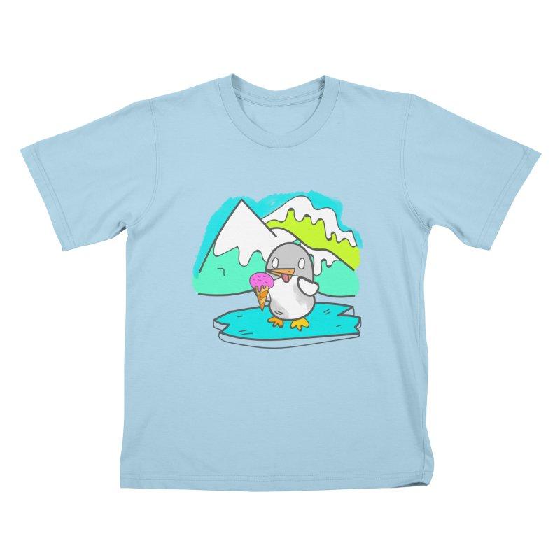 Ice cream Penguin  Kids T-shirt by JMK's Artist Shop