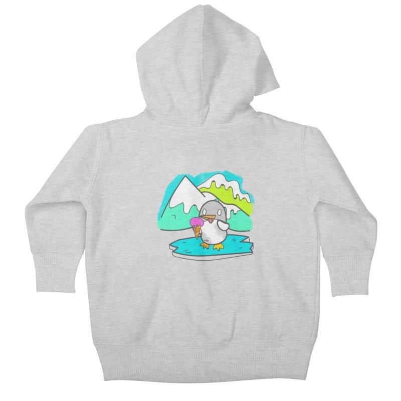 Ice cream Penguin  Kids Baby Zip-Up Hoody by JMK's Artist Shop