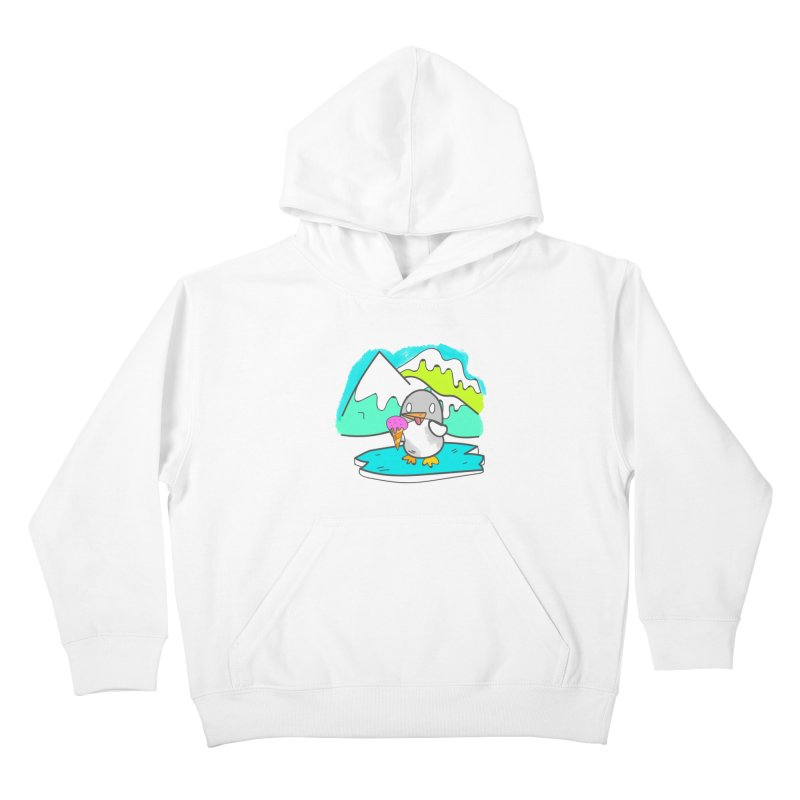 Ice cream Penguin  Kids Pullover Hoody by JMK's Artist Shop