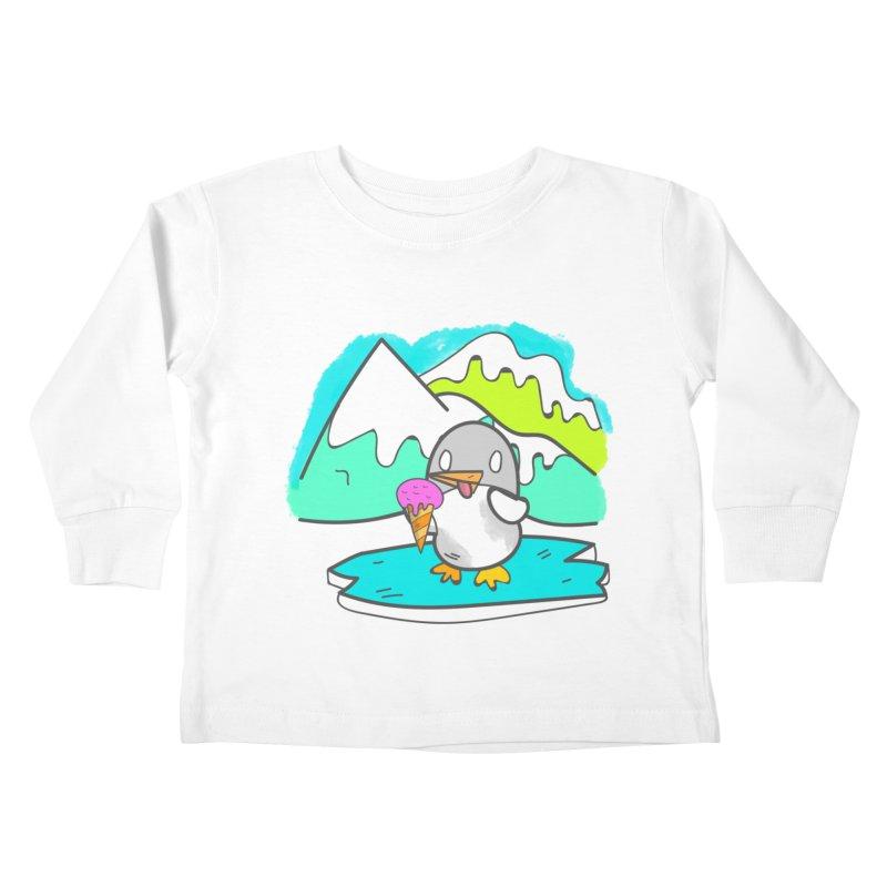 Ice cream Penguin  Kids Toddler Longsleeve T-Shirt by JMK's Artist Shop