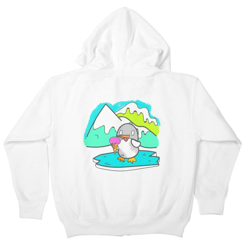 Ice cream Penguin  Kids Zip-Up Hoody by JMK's Artist Shop