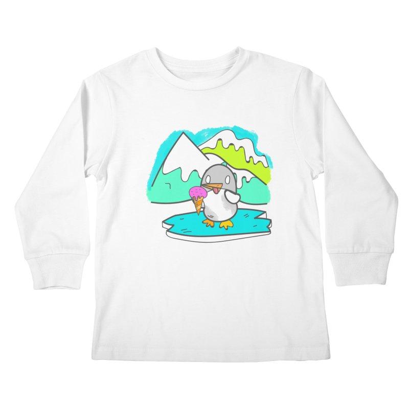 Ice cream Penguin  Kids Longsleeve T-Shirt by JMK's Artist Shop