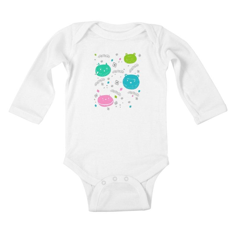 Cute animals pattern Kids Baby Longsleeve Bodysuit by JMK's Artist Shop