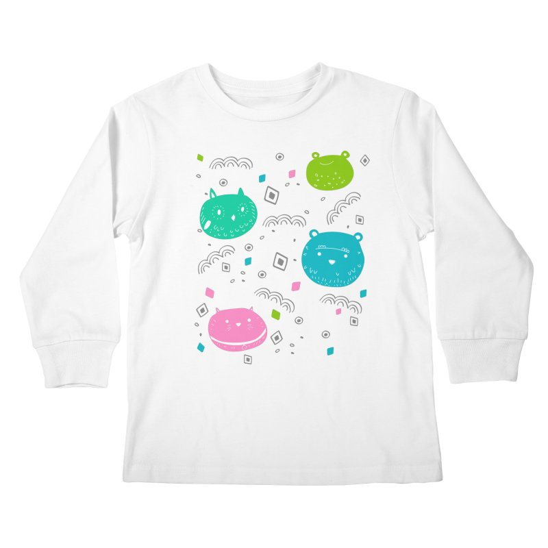 Cute animals pattern Kids Longsleeve T-Shirt by JMK's Artist Shop
