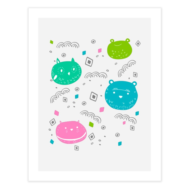 Cute animals pattern Home Fine Art Print by JMK's Artist Shop