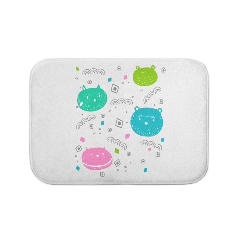 Cute animals pattern Home Bath Mat by JMK's Artist Shop